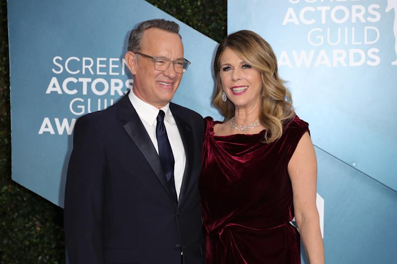 LOS ANGELES, CALIFORNIA - JANUARY 19: (L-R) Tom Hanks and Rita Wilson attend 26th Annual Screen Actors Guild Awards at The Shrine Auditorium on January 19, 2020 in Los Angeles, California. (Photo by Leon Bennett/Getty Images)