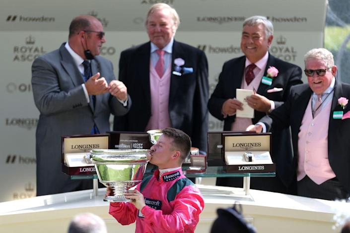 <p>Cieren Fallon celebrated after winning the King's Stand Stakes.<br></p>
