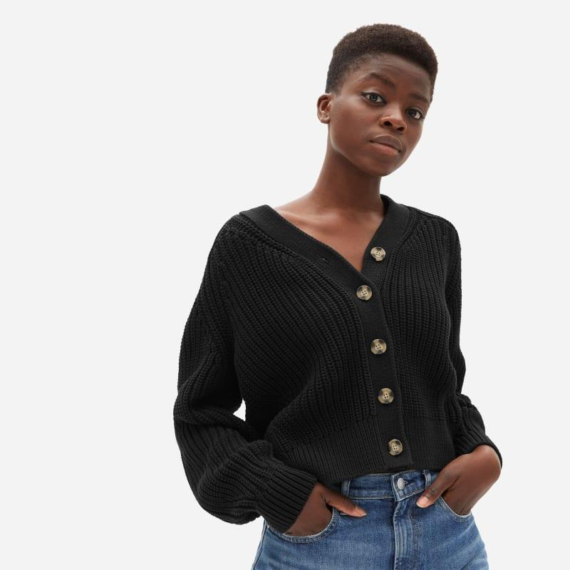 """<br><br><strong>Everlane</strong> The Texture Cotton Cardigan, $, available at <a href=""""https://go.skimresources.com/?id=30283X879131&url=https%3A%2F%2Fwww.everlane.com%2Fproducts%2Fwomens-texture-ctn-cardigan-black"""" rel=""""nofollow noopener"""" target=""""_blank"""" data-ylk=""""slk:Everlane"""" class=""""link rapid-noclick-resp"""">Everlane</a>"""