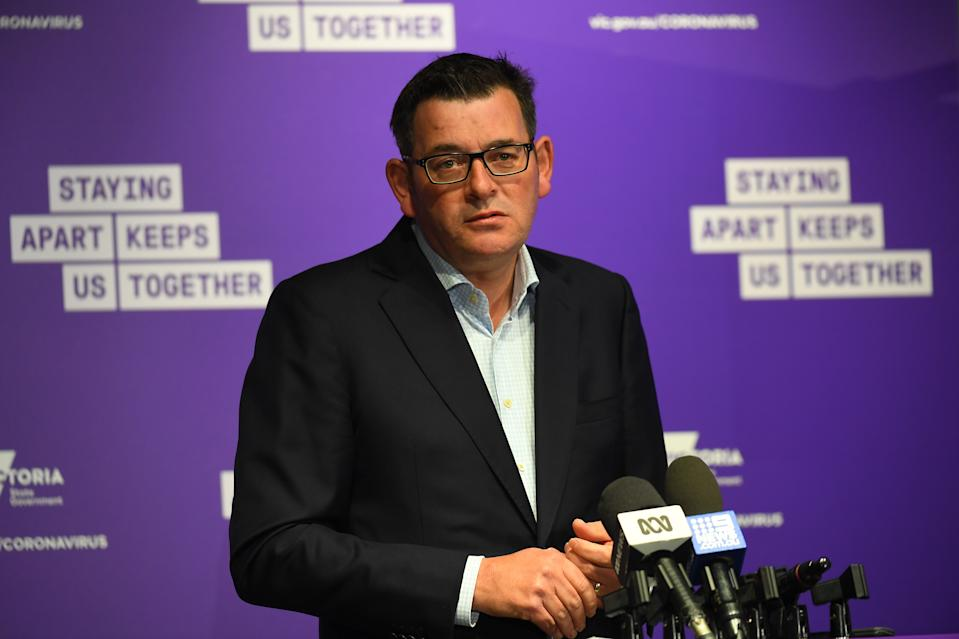 Victorian Premier Daniel Andrews addresses the media during a press conference about coronavirus. Source: AAP