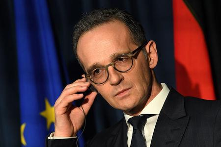Germany's Foreign Minister Heiko Maas looks on during a 'Global Ireland' news conference in Dublin