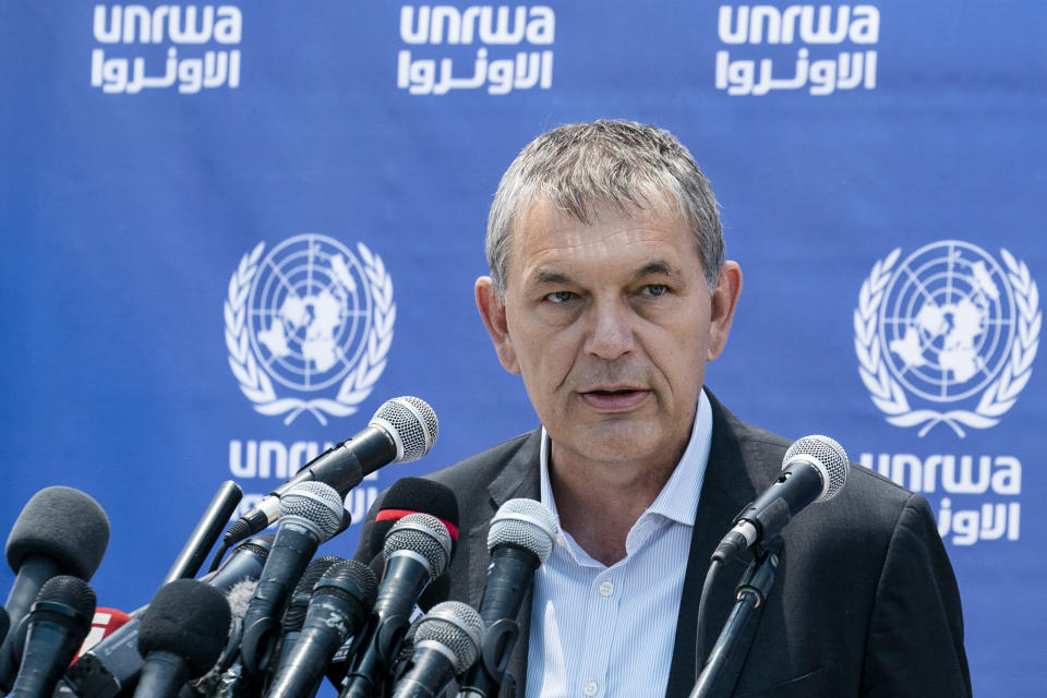 Philippe Lazzarini, Under-Secretary-General of the United Nations and Commissioner-General of the United Nations Relief and Works Agency for Palestine Refugees in the Near East (UNRWA) speaks during a news conference at their compound following a cease-fire reached after an 11-day war between Gaza's Hamas rulers and Israel, Sunday, May 23, 2021, in Gaza City. (AP Photo/John Minchillo)