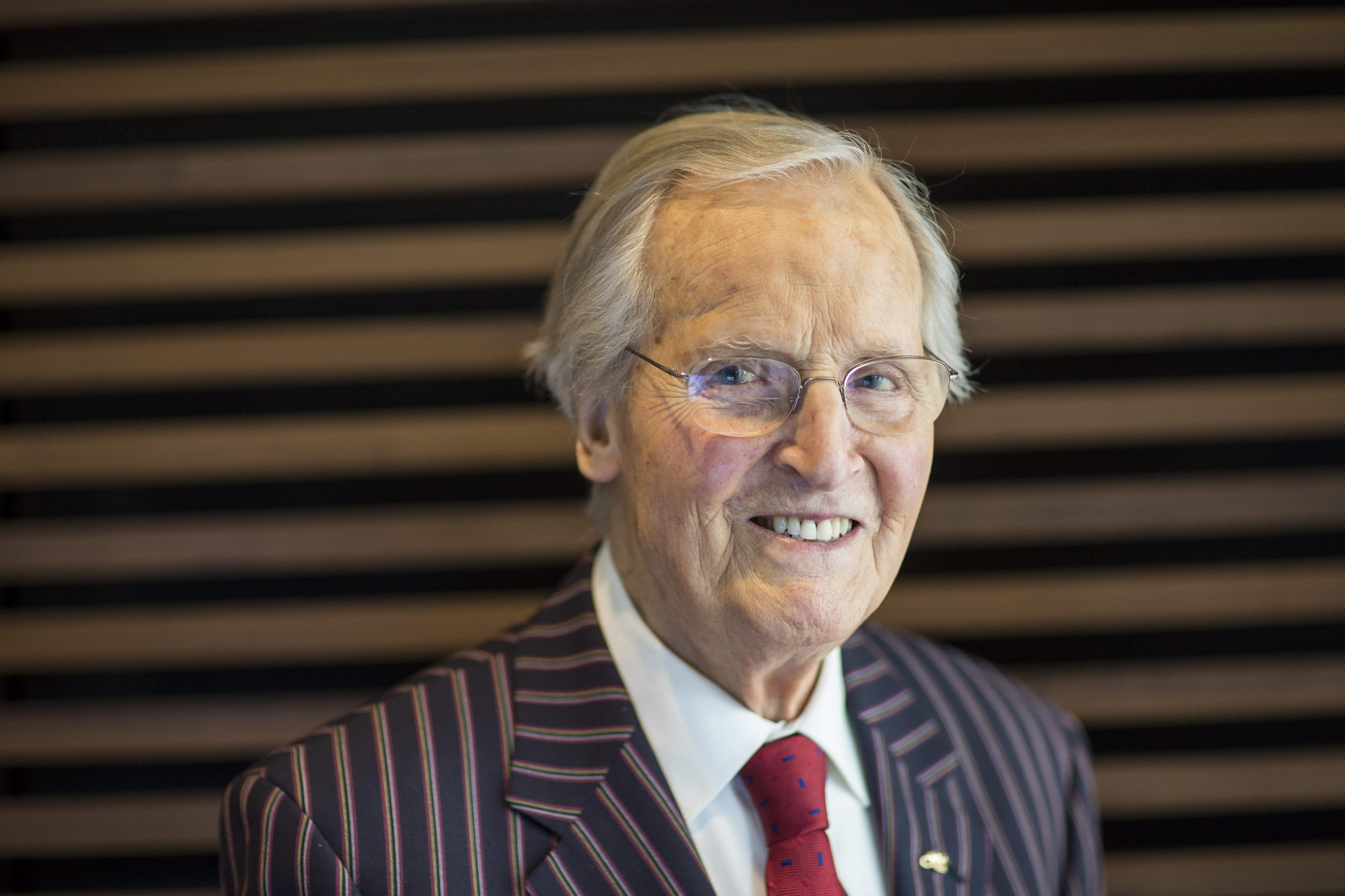Nicholas Parsons, radio and television presenter, photographed at the FT Weekend Oxford Literary Festival on April 9, 2016 in Oxford, England. (Photo by David Levenson/Getty Images)