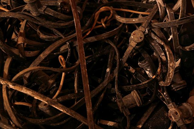 <p>Electricity conduits and cables are plied onto a chair in the Filter Room at the Combined Operations Centre, dating back to World War II, in the War Headquarters tunnels beneath Valletta, Malta, Jan. 24, 2017. (Photo: Darrin Zammit Lupi/Reuters) </p>