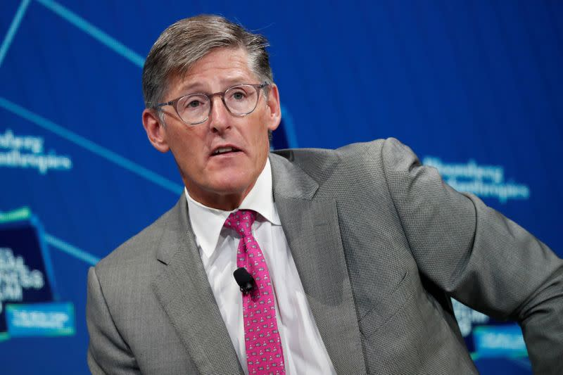 FILE PHOTO: Michael Corbat, CEO of Citigroup, speaks during the Bloomberg Global Business Forum in New York City, New York