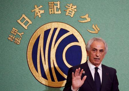 Vahid Halilhodzic, who was fired from his position as Japan national soccer team head coach, attends a news conference at the Japan National Press Club in Tokyo, Japan, April 27, 2018. REUTERS/Toru Hanai