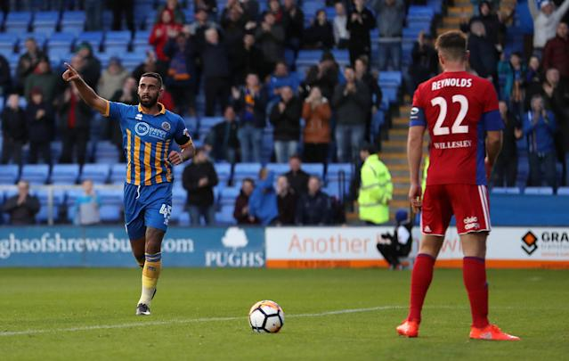 Soccer Football - FA Cup First Round - Shrewsbury Town vs Aldershot Town - New Meadow, Shrewsbury, Britain - November 4, 2017 Shrewsbury Town's Stefan Payne celebrates scoring their third goal Action Images/John Clifton
