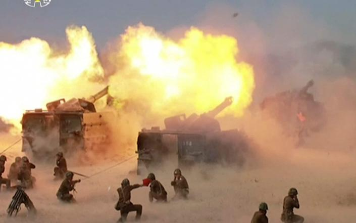 "A ""Combined Fire Demonstration"" held to celebrate the 85th anniversary of the North Korean army, in Wonsan - KRT"