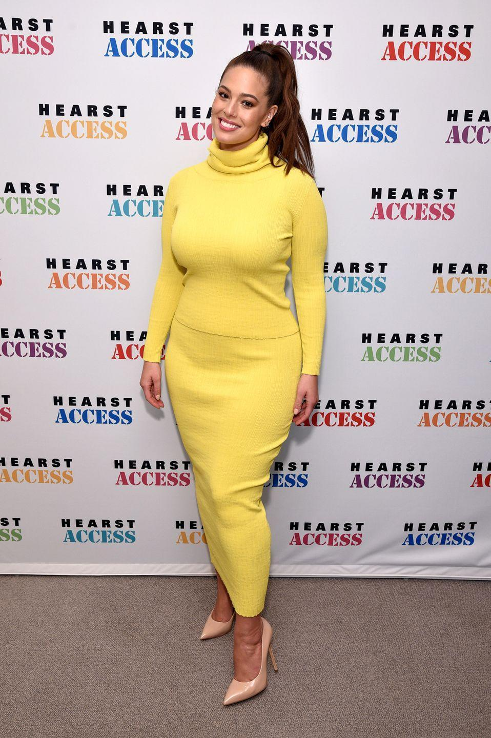 <p>Visiting Hearst Magazines in New York City: Proof that there are no rules when it comes to plus-size fashion. Ashley made a statement in this bright yellow roll neck two piece, which makes us hot for all kind of reasons just looking at it.</p>