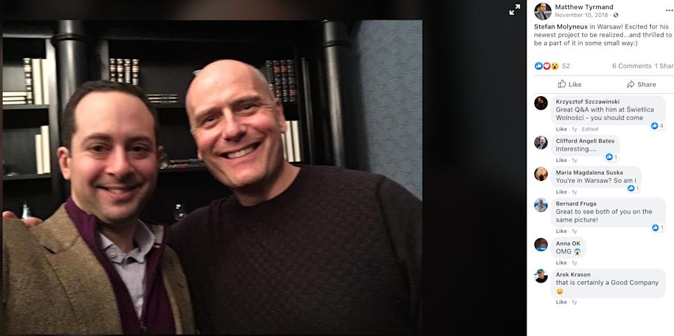 Project Veritas operative Matthew Tyrmand poses with Stefan Molyneux, a Canadian white nationalist responsible for radicalizing many young men to far-right extremism. (Photo: Matthew Tyrmand/Facebook)