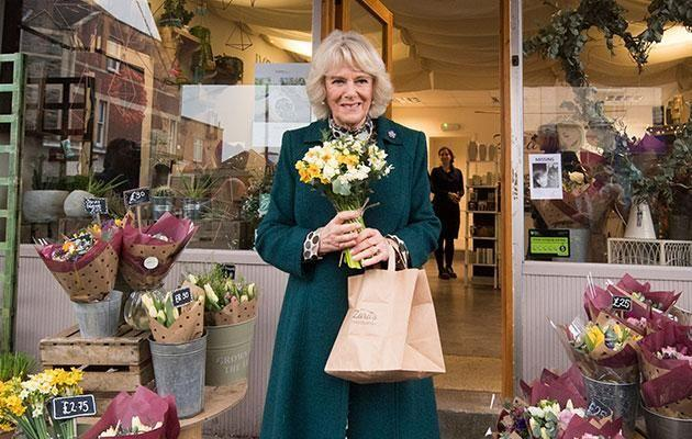In Bristol for official engagements, Camilla was gifted a Valentines Day bouquet by a local florist. Photo: Getty images