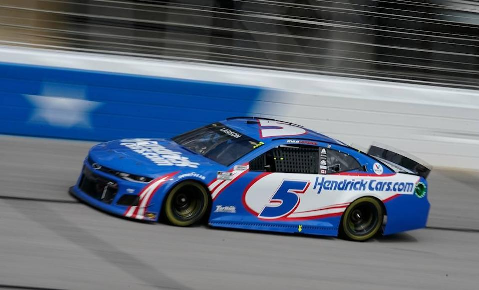 Kyle Larson drives during a NASCAR Cup Series at Atlanta Motor Speedway on Sunday, March 21, 2021, in Hampton, Ga. (AP Photo/Brynn Anderson)