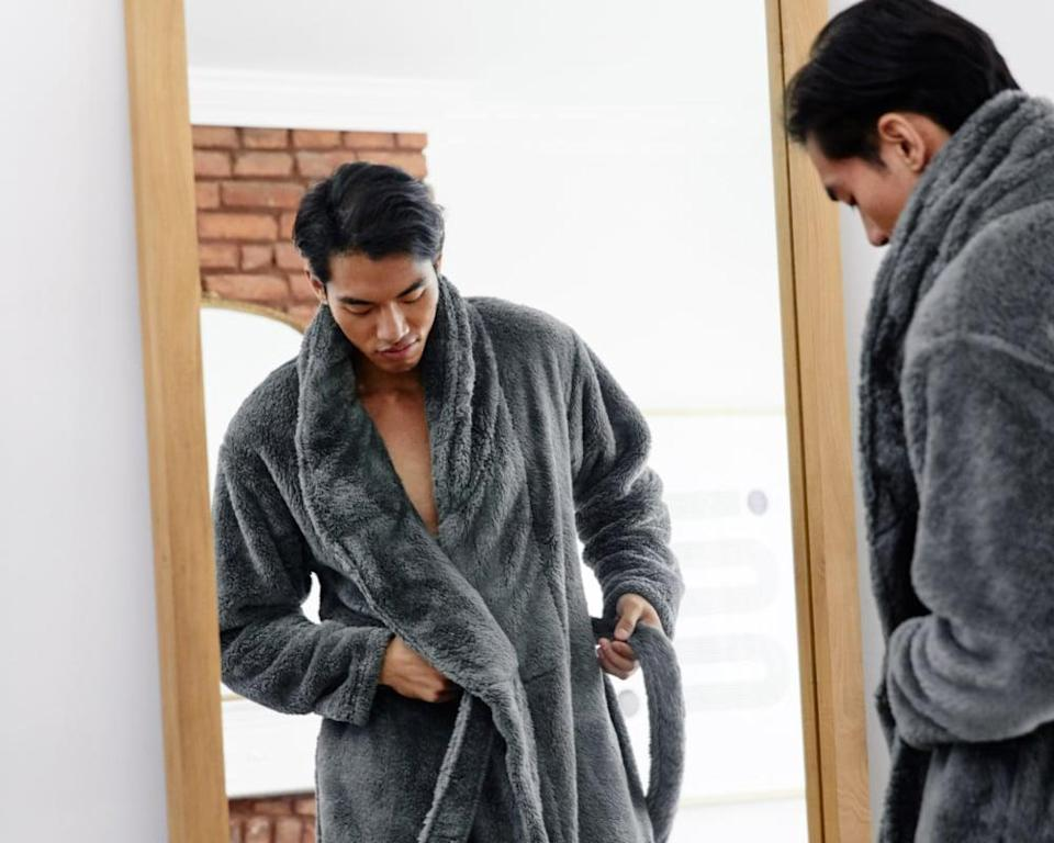 <p>The <span>Modernist X Gravity Weighted Robe</span> ($130) in gray is always a good choice.</p>