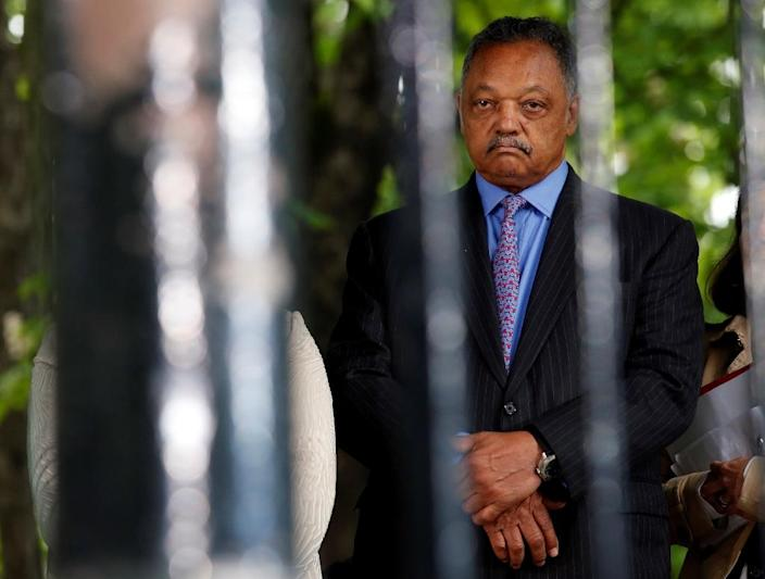 """Civil rights leader Jesse Jackson called the shooting dead of a black father of five by police in Louisiana """"a legal lynching"""" (AFP Photo/Philippe Wojazer)"""