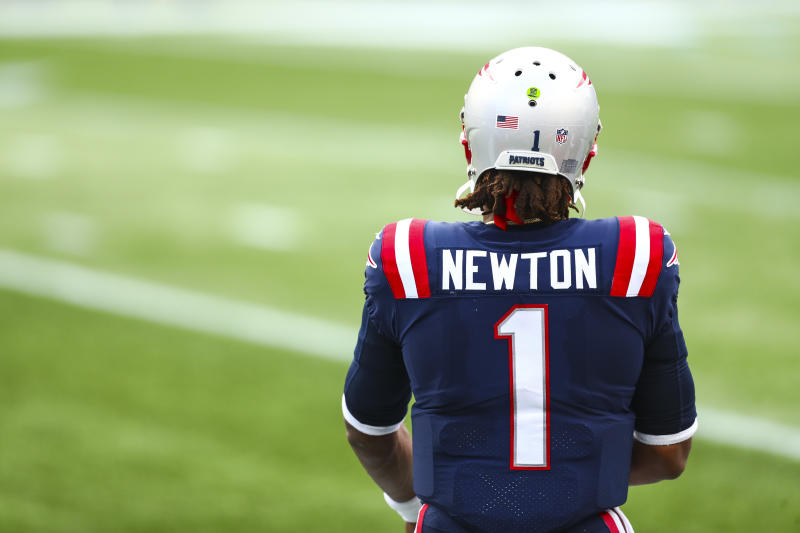 Cam Newton is on the COVID-reserve list for New England. (Photo by Adam Glanzman/Getty Images)