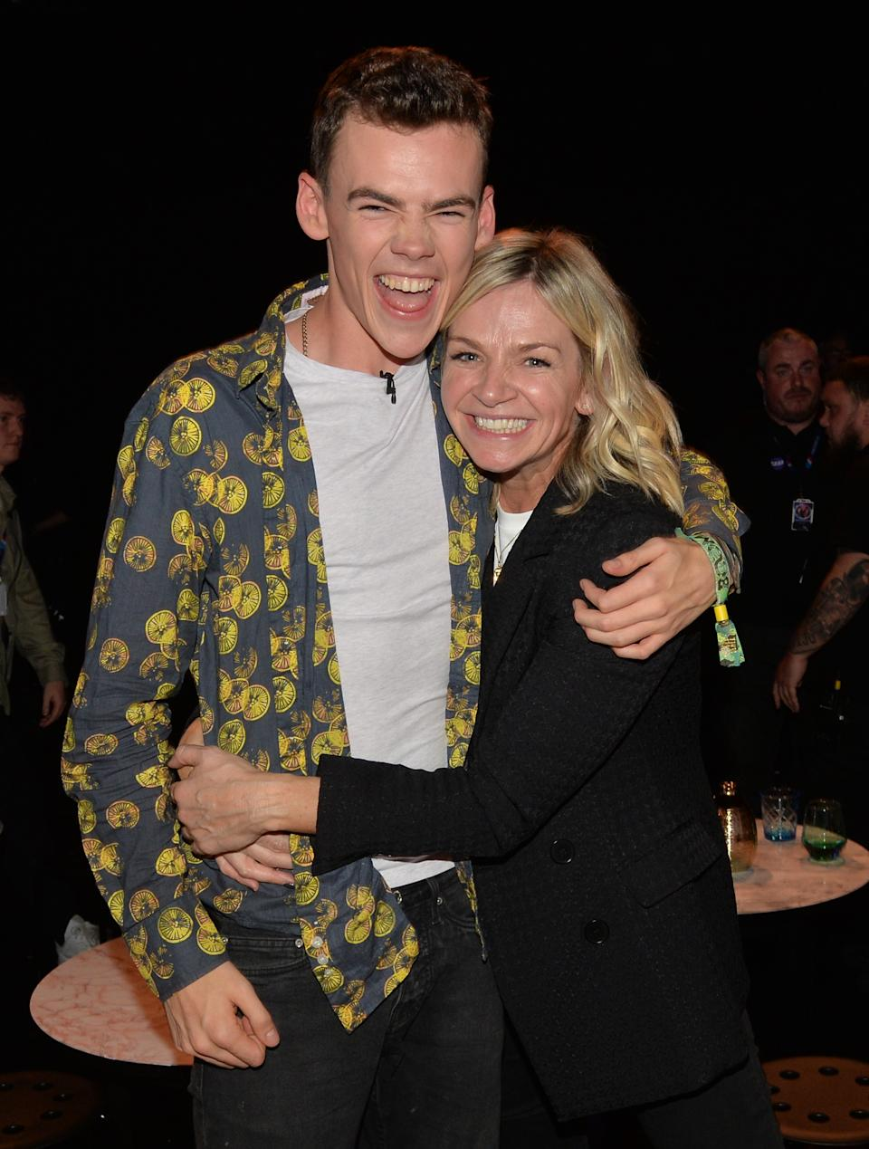 Finalist Woody Cook with his mother, Zoe Ball, following the live final of the second series of Channel 4's The Circle, in Salford, Manchester. (Photo by Peter Powell/PA Images via Getty Images)