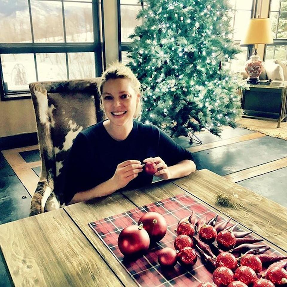"<p>Katherine Heigl has a lot to smile about this Christmas. The actress — who is due to give birth to a baby boy in early 2017 — was glowing as she prepared to deck out her family tree in red. ""It's the most wonderful time of the year!"" she shared. (Photo: <a rel=""nofollow"" href=""https://www.instagram.com/p/BN7YsKEAIom/?taken-by=katherineheigl"">Instagram</a>) </p>"