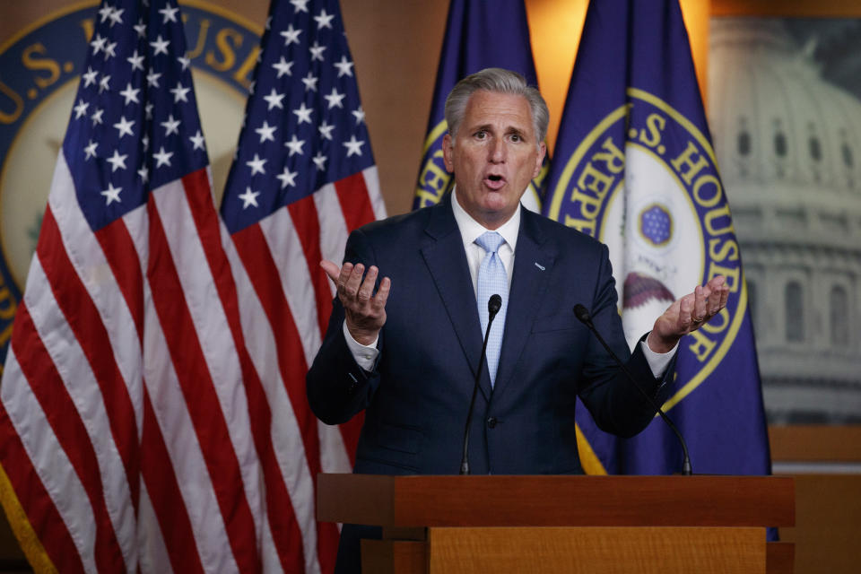 House Minority Leader Kevin McCarthy of Calif., speaks during a news conference on Capitol Hill in Washington, Thursday, June 25, 2020. (AP Photo/Carolyn Kaster)