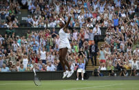 """FILE - Cori """"Coco"""" Gauff celebrates after beating Slovenia's Polona Hercog in a women's singles match during day five of the Wimbledon Tennis Championships in London, in this Friday, July 5, 2019, file photo. Gauff reached the fourth round at Wimbledon as a qualifier in her Grand Slam debut two years ago and now returns as a seeded player. Play begins Monday, June 28, 2021. (AP Photo/Ben Curtis, File)"""