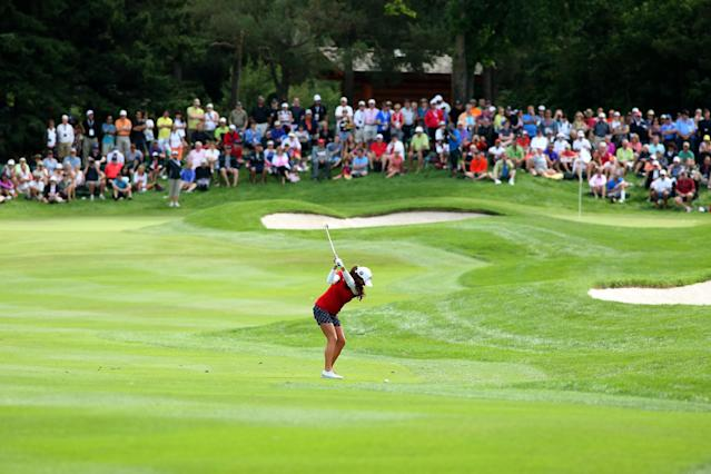 EDMONTON, AB - AUGUST 25: Gerina Piller hits her second shot on the seventh hole during the final round of the CN Canadian Women's Open at Royal Mayfair Golf Club on August 25, 2013 in Edmonton, Alberta, Canada. (Photo by Stephen Dunn/Getty Images)