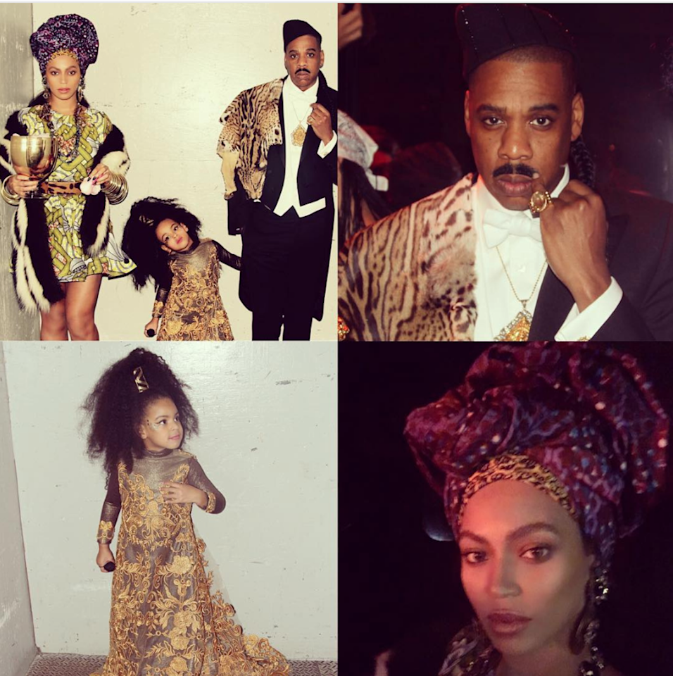 The Carters turned Halloween 2015 into a family affair, with Bey, Jay-Z, and Blue all channeling looks from the 1988 film <em>Coming to America</em> (starring Eddie Murphy). Beyoncé dressed up as Queen Aoleon, while her husband paid homage to Prince Akeem. Blue Ivy stole the show, though, as future queen Imani Izzi.