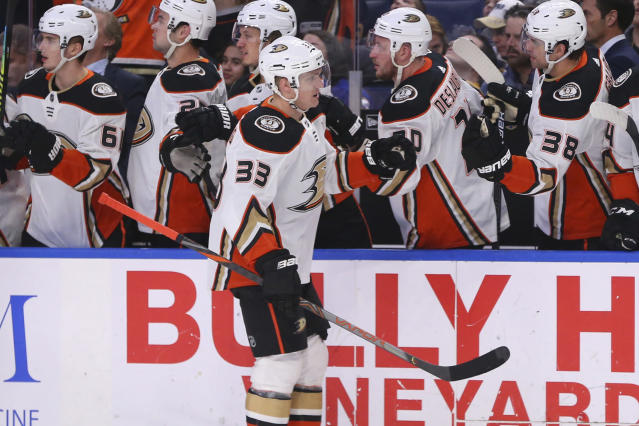 Anaheim Ducks forward Jakob Silfverberg (33) celebrates his goal during the first period of an NHL hockey game against the Buffalo Sabres, Sunday, Feb. 9, 2020, in Buffalo, N.Y. (AP Photo/Jeffrey T. Barnes)