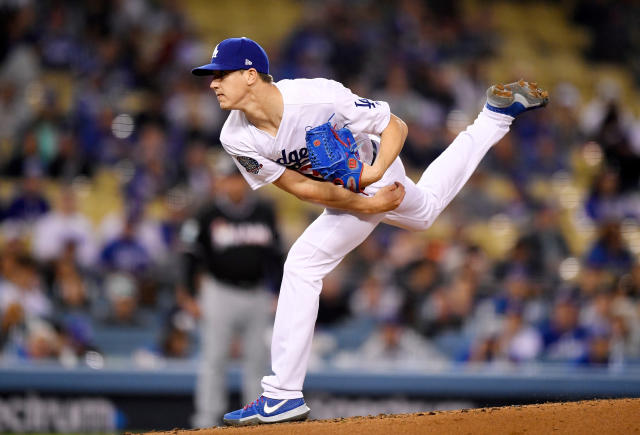 Los Angeles Dodgers starting pitcher Walker Buehler throws to the plate during the second inning of a baseball game against the Miami Marlins Monday, April 23, 2018, in Los Angeles. (AP Photo/Mark J. Terrill)