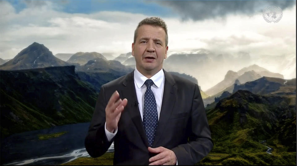 In this image from video provided by the United Nations, Iceland's Foreign Minister Gudlaugur Thor Thordarson addresses the 76th session of U.N. General Assembly, in a pre-recorded message presented at U.N. headquarters, Monday, Sept. 27, 2021. (UNTV via AP)