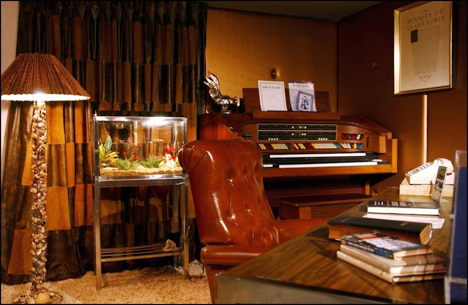 "<p>The singer's upstairs office is not open to the public and has been preserved exactly how Elvis left it—even the <a href=""https://www.express.co.uk/entertainment/music/1328530/Elvis-Presley-Graceland-upstairs-secrets-Lisa-Marie-Elvis-bedroom-Elvis-office"" rel=""nofollow noopener"" target=""_blank"" data-ylk=""slk:last record he listened to is still on the record player"" class=""link rapid-noclick-resp"">last record he listened to is still on the record player</a>. </p>"