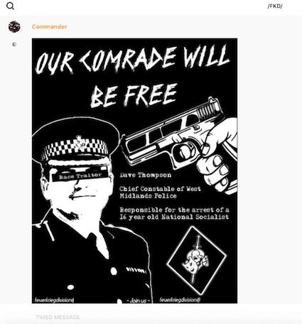 A poster released by Feuerkrieg Division members after a 16-year-old member was arrested in 2019