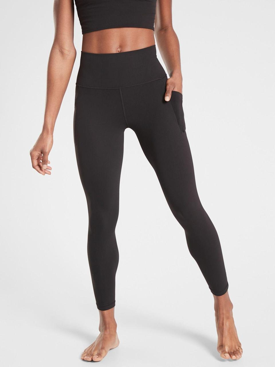 """<p><strong>Athleta</strong></p><p>athleta.gap.com</p><p><strong>$98.00</strong></p><p><a href=""""https://go.redirectingat.com?id=74968X1596630&url=https%3A%2F%2Fathleta.gap.com%2Fbrowse%2Fproduct.do%3Fpid%3D531321012%26cid%3D1059481%26pcid%3D1059481%26vid%3D1%26grid%3Dpds_3_97_1%26cpos%3D3%26cexp%3D1501%26kcid%3DCategoryIDs%253D1059481%26cvar%3D11270%26ctype%3DListing%26cpid%3Dres2007201341333286110932%23pdp-page-content&sref=https%3A%2F%2Fwww.goodhousekeeping.com%2Fclothing%2Fg27206929%2Fbest-black-leggings%2F"""" rel=""""nofollow noopener"""" target=""""_blank"""" data-ylk=""""slk:Shop Now"""" class=""""link rapid-noclick-resp"""">Shop Now</a></p><p>Most leggings don't come with pockets, but these black yoga leggings have <strong>deep pockets on the sides that lie flat against your leg so they don't stick out</strong><strong>.</strong> They're made of Athelta's popular Powervita fabric, which is soft, smooth and slightly compressive.</p><p>On top of the comfort and convenience, these are available in regular, petite, tall and plus sizes so they're perfect for a variety of body types. And if you prefer shorter styles, you can find these in a <a href=""""https://go.redirectingat.com?id=74968X1596630&url=https%3A%2F%2Fathleta.gap.com%2Fbrowse%2Fproduct.do%3Fpid%3D531304002&sref=https%3A%2F%2Fwww.goodhousekeeping.com%2Fclothing%2Fg27206929%2Fbest-black-leggings%2F"""" rel=""""nofollow noopener"""" target=""""_blank"""" data-ylk=""""slk:capri"""" class=""""link rapid-noclick-resp"""">capri</a> or a <a href=""""https://go.redirectingat.com?id=74968X1596630&url=https%3A%2F%2Fathleta.gap.com%2Fbrowse%2Fproduct.do%3Fpid%3D531302002&sref=https%3A%2F%2Fwww.goodhousekeeping.com%2Fclothing%2Fg27206929%2Fbest-black-leggings%2F"""" rel=""""nofollow noopener"""" target=""""_blank"""" data-ylk=""""slk:short"""" class=""""link rapid-noclick-resp"""">short</a>, both of which also have pockets.</p>"""