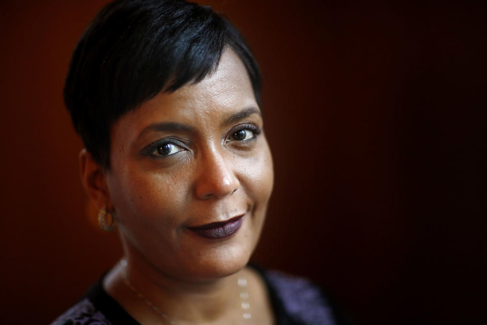FILE - In this Jan. 11, 2018, file photo, Atlanta Mayor Keisha Lance Bottoms poses for a photo in her office in Atlanta. (AP Photo/David Goldman, File)