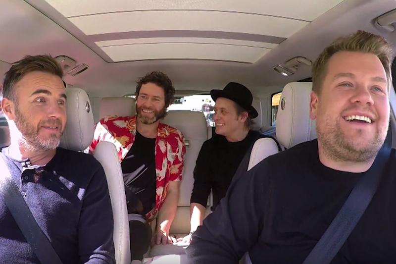 Breaking America: James Corden takes Take That on the road in LA for Comic Relief's Carpool Karaoke: BBC / Comic Relief