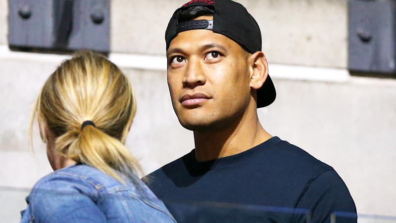 Israel Folau, pictured here in the stands during the Netball World Cup.