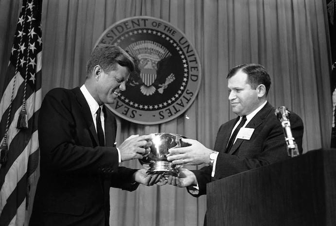 President John F. Kennedy and William Small in 1962