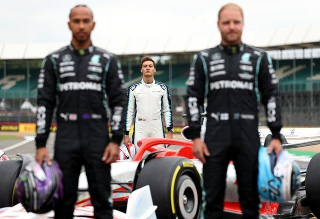 George Russell (centre) could replace Valtteri Bottas (right) and join Lewis Hamilton at Mercedes in 2022
