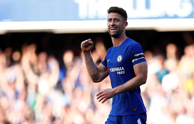 FILE PHOTO: London, Britain - May 6, 2018 Chelsea's Gary Cahill celebrates after the match REUTERS/Eddie Keogh/File Photo