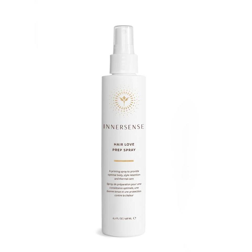 """Protect your hair from every form of heat — including the sun — with this Hair Love Prep Spray from Innersense. The priming spray is made with baobab and angelica root, both of which <a href=""""https://www.allure.com/gallery/sun-uv-protection-for-hair-and-scalp?mbid=synd_yahoo_rss"""" rel=""""nofollow noopener"""" target=""""_blank"""" data-ylk=""""slk:protect against UV rays"""" class=""""link rapid-noclick-resp"""">protect against UV rays</a>, heat, and environmental exposure. Rice protein in the formula helps hair attract moisture, which comes in handy when drying salt water attempts to steal the shine from your style."""