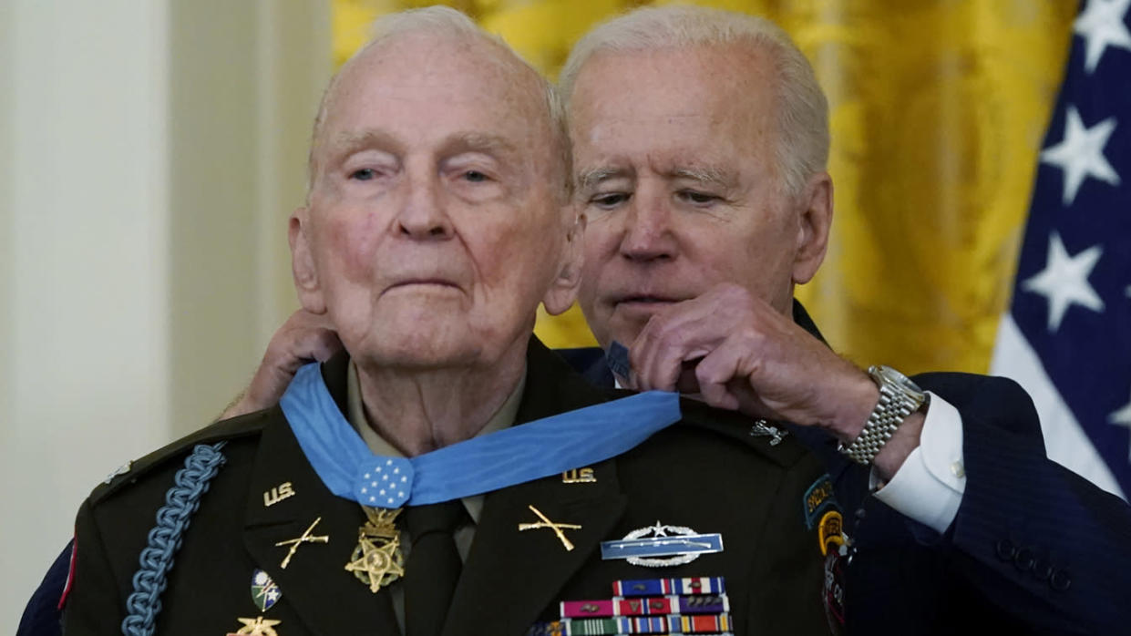 President Biden presents the Medal of Honor to retired U.S. Army Col. Ralph Puckett Jr. in the East Room of the White House on Friday. (AP Photo/Alex Brandon)