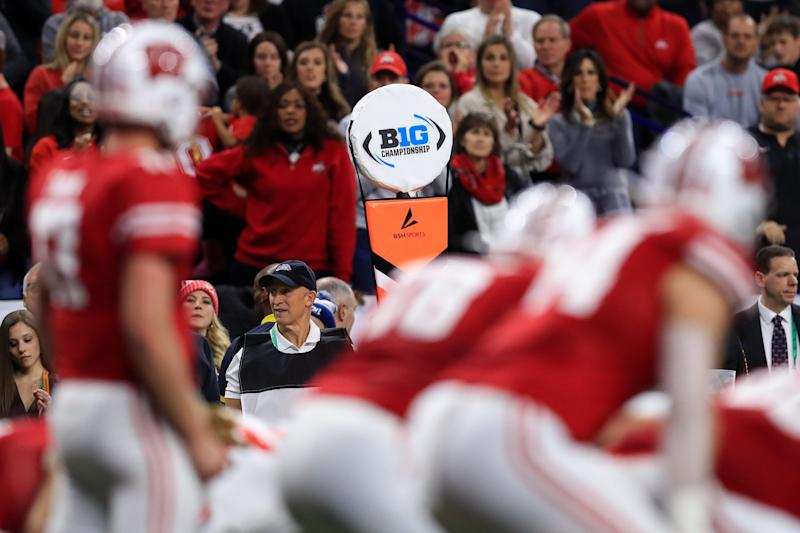 A view of the Big Ten logo on a sideline marker as the Wisconsin Badgers offense takes the field against the Ohio State Buckeyes defense during the first half in the 2019 Big Ten Championship Game at Lucas Oil Stadium on Dec 7, 2019.