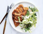 """Opposites attract: This bright, sprightly salad is just the thing to cut through the richness of succulent pan-fried pork. <a href=""""https://www.bonappetit.com/recipe/pork-shoulder-cutlets-with-fennel-and-asparagus-salad?mbid=synd_yahoo_rss"""" rel=""""nofollow noopener"""" target=""""_blank"""" data-ylk=""""slk:See recipe."""" class=""""link rapid-noclick-resp"""">See recipe.</a>"""