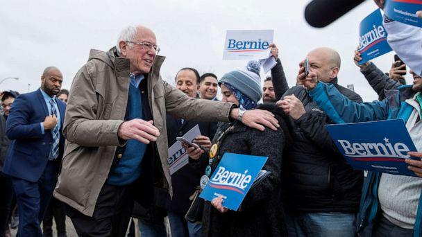 PHOTO: Democratic presidential candidate Bernie Sanders greets supporters outside of a polling station in Dearborn Heights, Mich., March 10, 2020. (Lucas Jackson/Reuters)