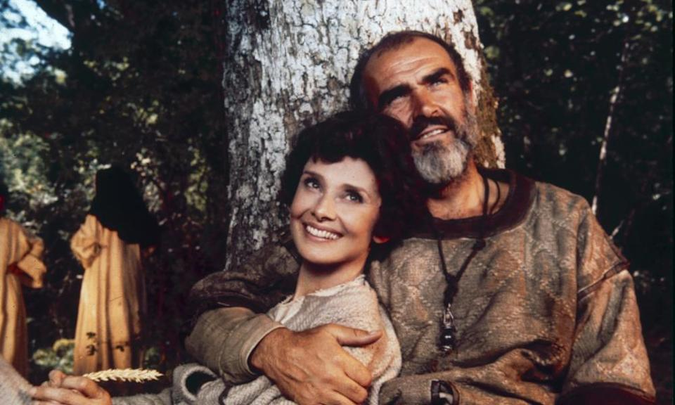 Audrey Hepburn as Lady Marian and Sean Connery as Robin Hood, in Richard Lester's 1976 film Robin And Marian.