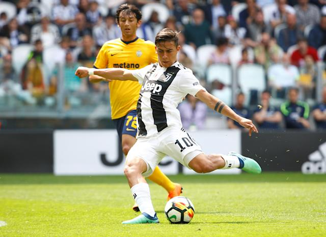 Soccer Football - Serie A - Juventus vs Hellas Verona - Allianz Stadium, Turin, Italy - May 19, 2018 Juventus' Paulo Dybala has a shot at goal REUTERS/Stefano Rellandini