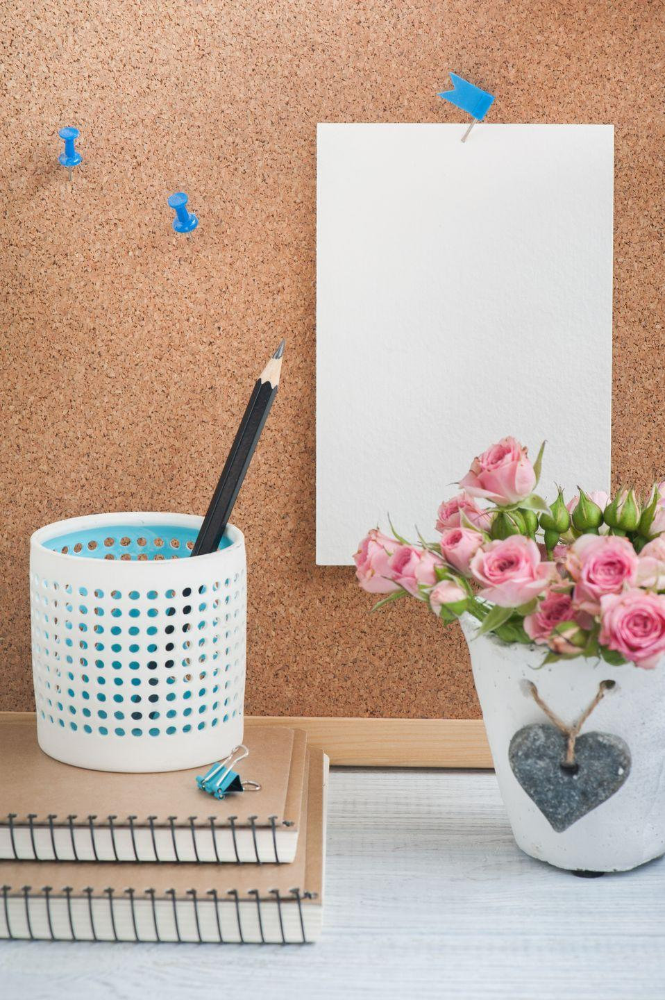 """<p>To stay on track (and make cleaning feel less overwhelming), jot <a href=""""https://www.womansday.com/home/organizing-cleaning/tips/a4055/a-quicker-way-to-clean-house-83178/"""" rel=""""nofollow noopener"""" target=""""_blank"""" data-ylk=""""slk:your routine"""" class=""""link rapid-noclick-resp"""">your routine </a>down on index cards — organized by daily, weekly, and monthly to-dos — and post them on a bulletin board, says Debbie Williams, founder of <a href=""""http://www.organizedtimes.com/"""" rel=""""nofollow noopener"""" target=""""_blank"""" data-ylk=""""slk:organizedtimes.com"""" class=""""link rapid-noclick-resp"""">organizedtimes.com</a>. </p><p><strong><a class=""""link rapid-noclick-resp"""" href=""""https://www.amazon.com/Quartet-Bulletin-23-Inch-35-Inch-35-380352/dp/B000AMKKBC/?tag=syn-yahoo-20&ascsubtag=%5Bartid%7C10070.g.3310%5Bsrc%7Cyahoo-us"""" rel=""""nofollow noopener"""" target=""""_blank"""" data-ylk=""""slk:SHOP CORK BOARDS"""">SHOP CORK BOARDS</a></strong></p>"""