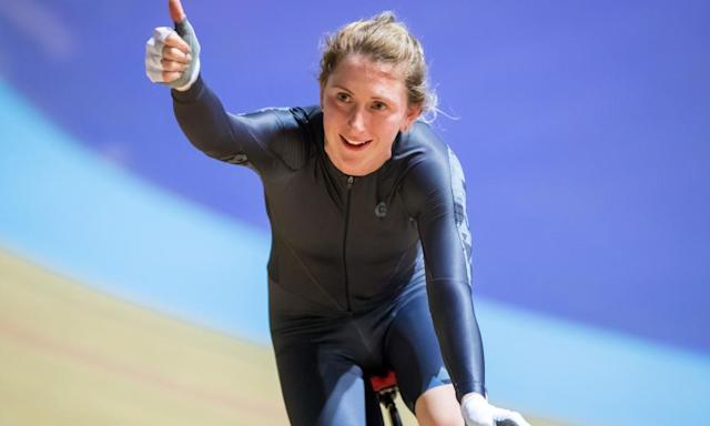 "<span class=""element-image__caption"">Laura Kenny celebrates her gold in the Women's British National Omnium Championships at Derby last Saturday on her return to cycling after giving birth. </span> <span class=""element-image__credit"">Photograph: Alex Whitehead/SWpix.com/Rex/Shutterstock</span>"