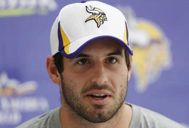 Minnesota Vikings' quarterback Christian Ponder speaks to the media during a press conference at the Grove Hotel in Watford, north London, Wednesday, Sept. 25, 2013. Vikings play Pittsburgh Steelers on Sunday in a NFL regular season football game at Wembley Stadium in London. (AP Photo/Sang Tan)