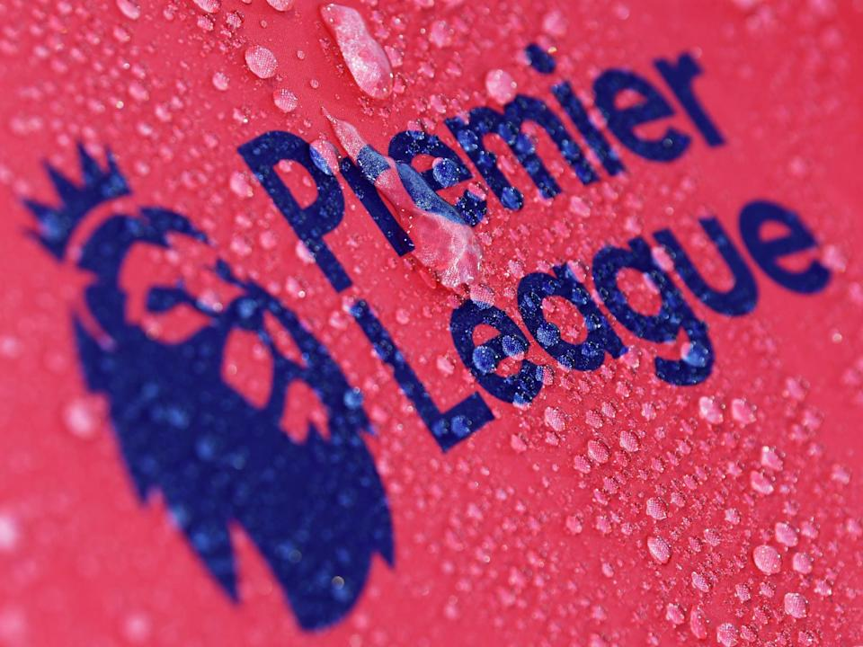 Raindrops are seen on a Premier League logo (Getty Images)