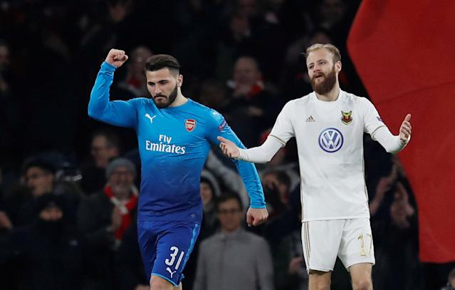 Soccer Football - Europa League Round of 32 Second Leg - Arsenal vs Ostersunds FK - Emirates Stadium, London, Britain - February 22, 2018 Arsenal's Sead Kolasinac celebrates scoring their first goal as Ostersunds FK's Curtis Edwards reacts REUTERS/Eddie Keogh