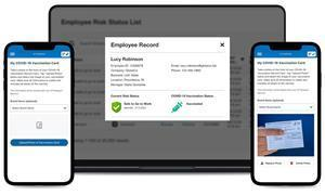 Employees can easily and securely enter their vaccination information and upload photo of vaccination card. Also allows employees to digitally carry their digital vaccination card at work or elsewhere.